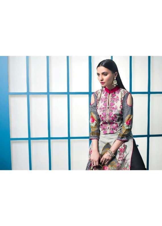 Arisha Chowdary BY ZS Embroidered Lawn Unstitched 3 Piece Suit AC18L 12 - Spring / Summer Collection