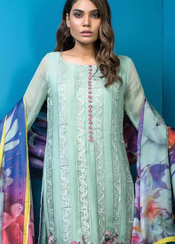 Al Dawood Textile Embroidered Chiffon Unstitched 3 Piece Suit AD18L 04 - Summer Collection
