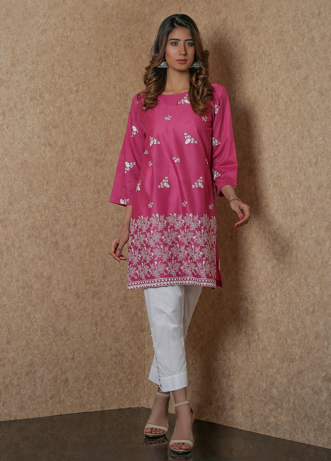 Addee Pret Embroidered Lawn Stitched Kurtis  V4-S20-K058 Pink-S