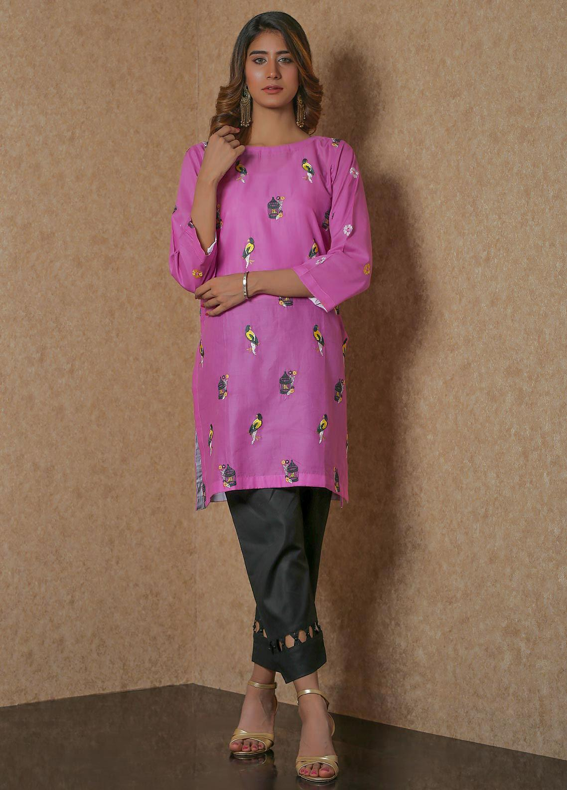 Addee Pret Embroidered Lawn Stitched Kurtis  V4-S20-K059 Pink-S