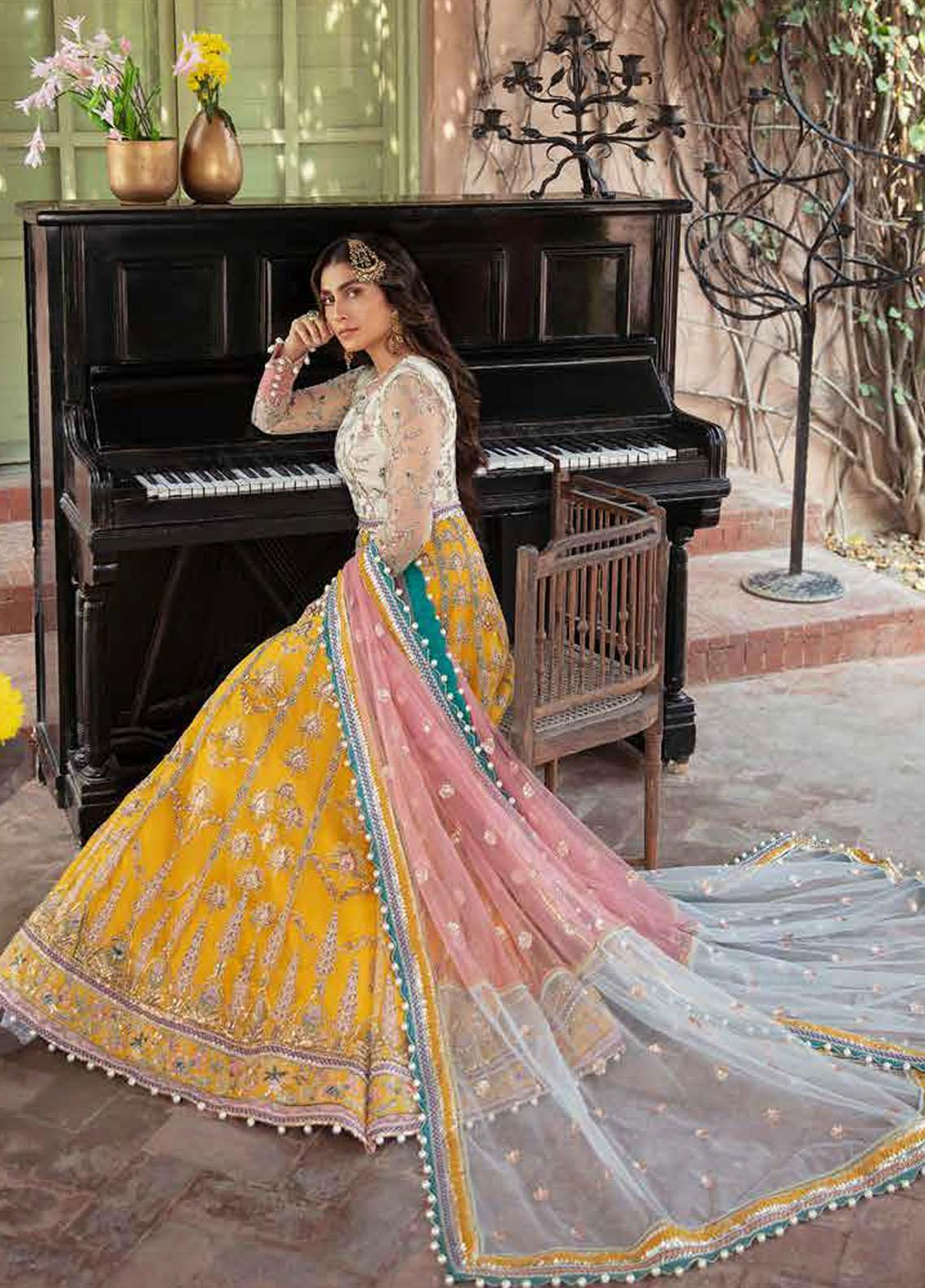 Afrozeh Embroidered Net Suits Unstitched 3 Piece AF21HW PAREESHA - Formals Wedding  Collection