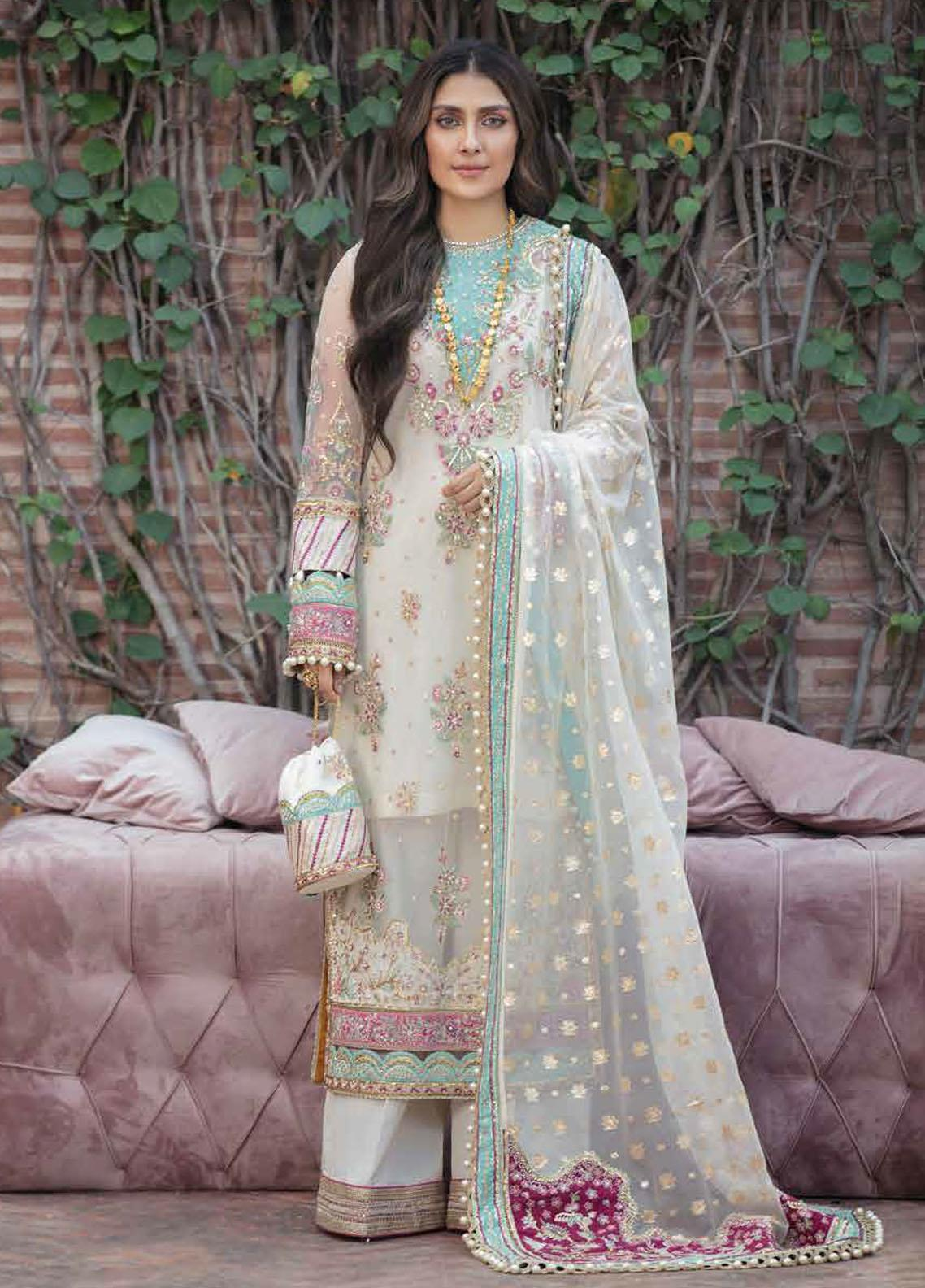 Afrozeh Embroidered Net Suits Unstitched 3 Piece AF21HW RUHAY - Formals Wedding  Collection