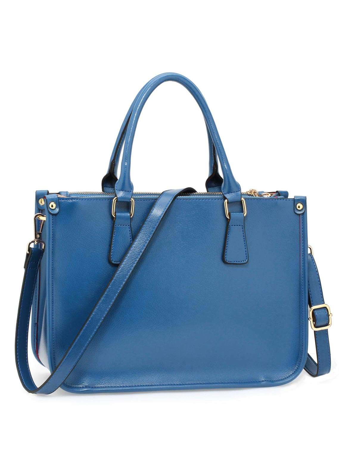 Anna Grace London Faux Leather Tote  Bags  for Women  Blue with Smooth Texture