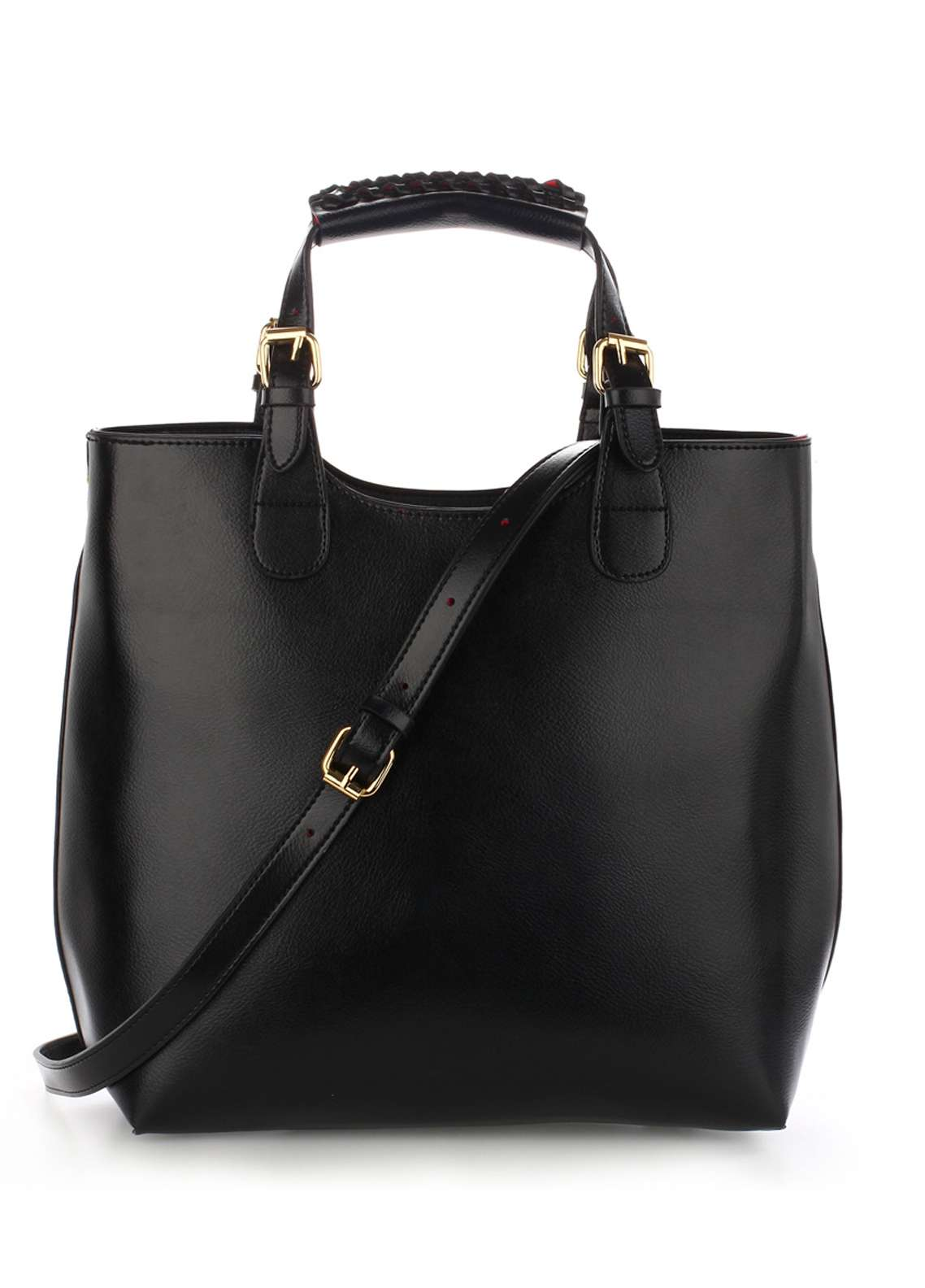 Anna Grace London Hard Faux Leather Shoulder  Bags  for Women  Black with Plain Texture