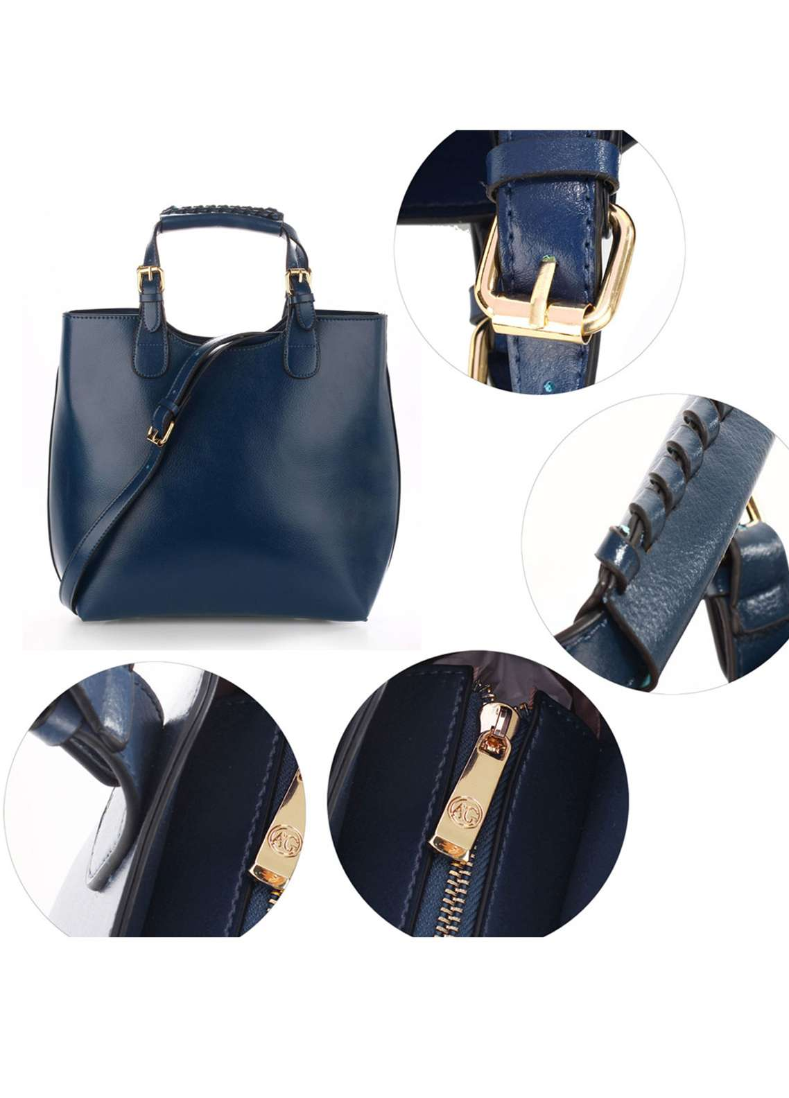 Anna Grace London Hard Faux Leather Shoulder  Bags  for Women  Navy with Plain Texture