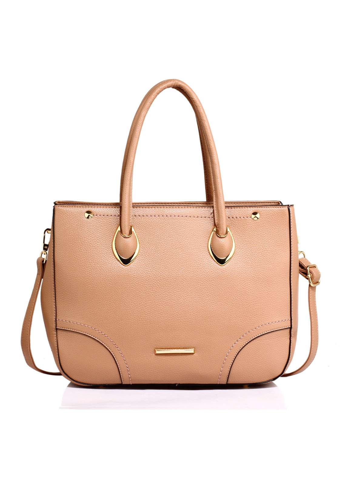 Anna Grace London Faux Leather Tote  Bags for Women Nude