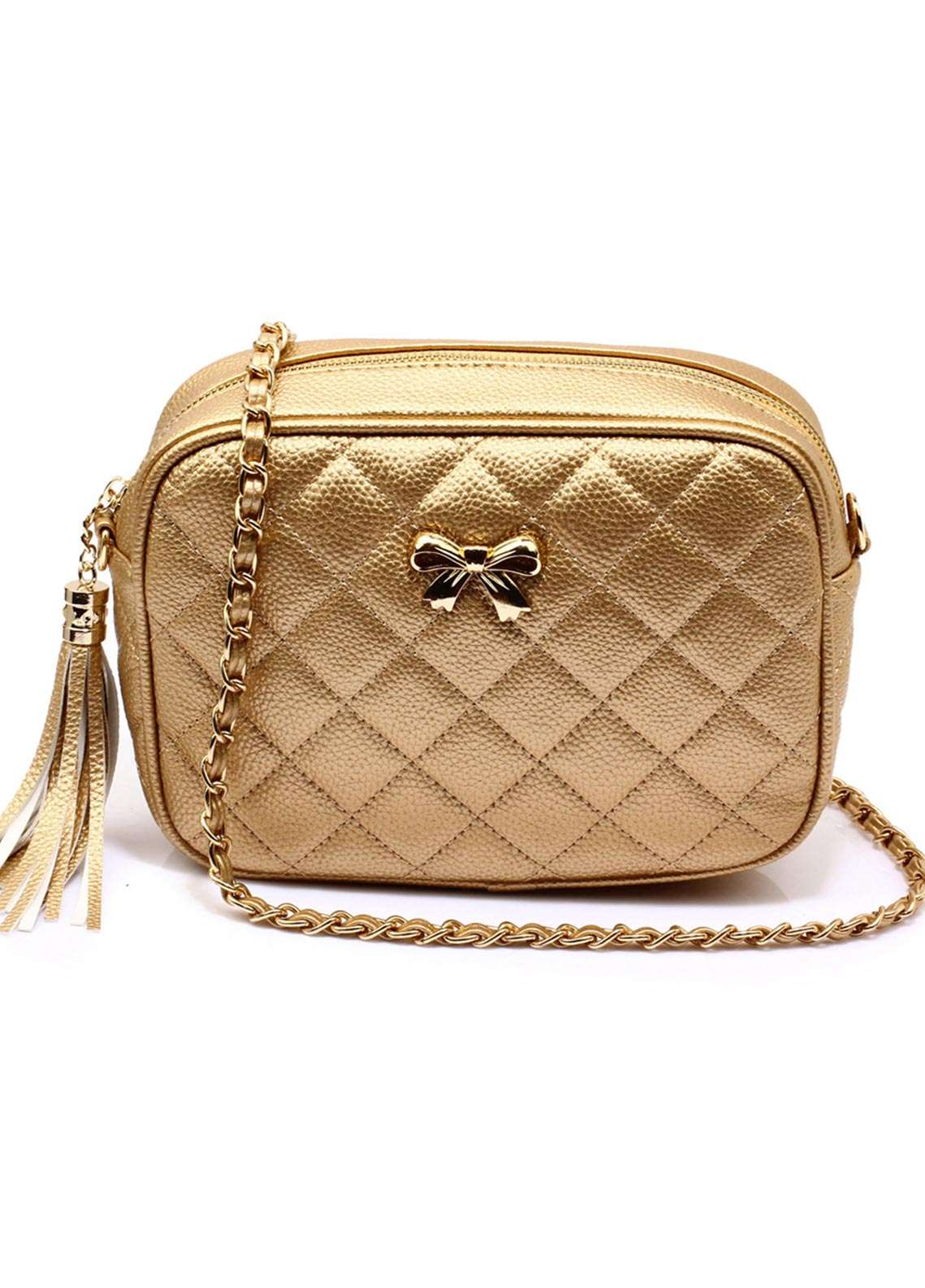 Anna Grace London Faux Leather Shoulder Bags  for Women  Gold with Quilted Texture