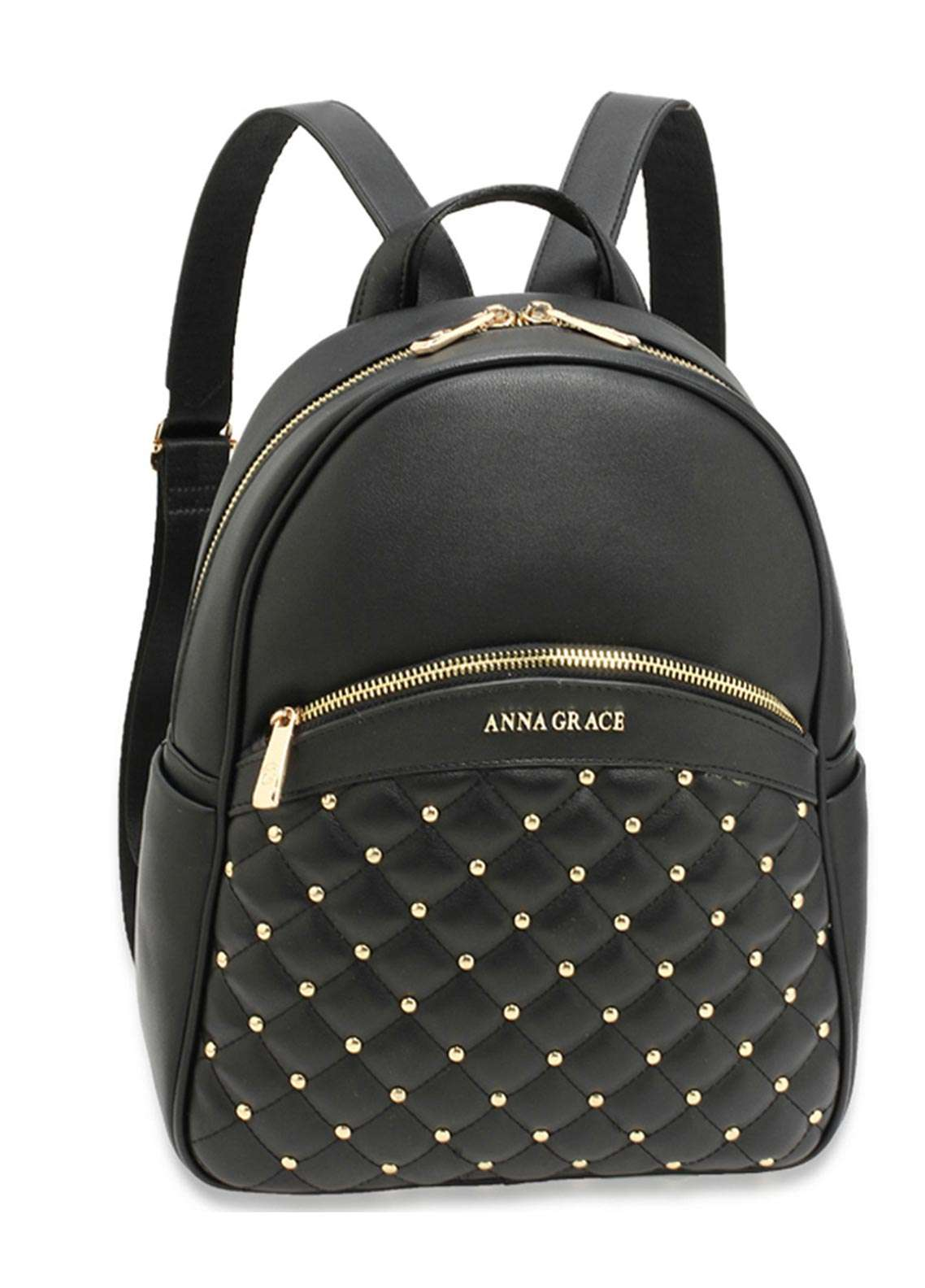 Anna Grace London Faux Leather Backpack Bags  for Women  Black with Smooth Texture