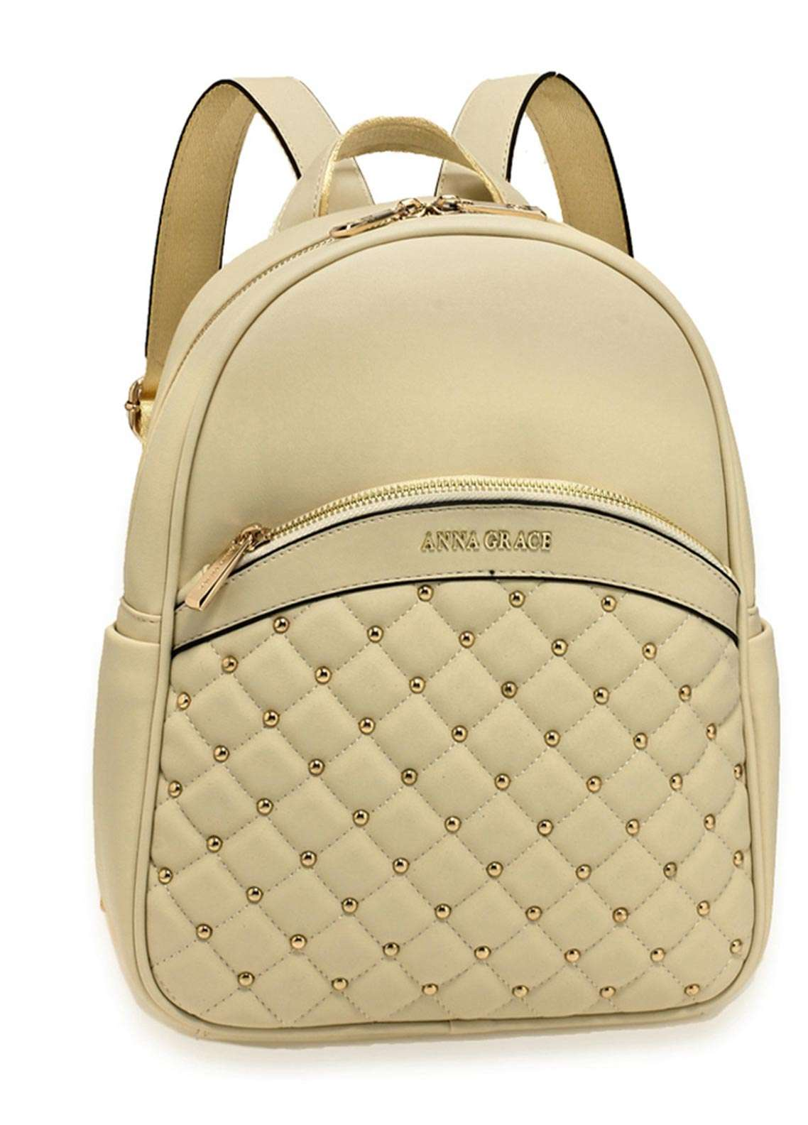 Anna Grace London Faux Leather Backpack Bags  for Women  Ivory with Smooth Texture