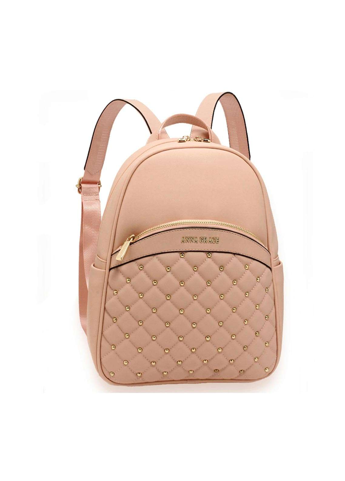 Anna Grace London Faux Leather Backpack Bags  for Women  Pink with Smooth Texture