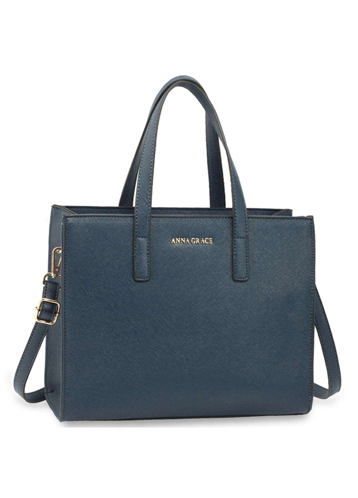 Anna Grace London Faux Leather Tote Bags  for Women  Navy with Smooth Texture