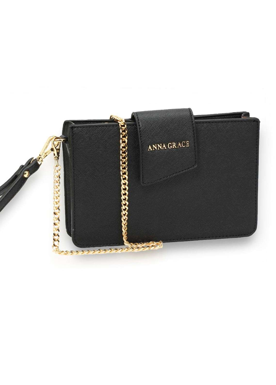 Anna Grace London Faux Leather Crossbody  Bags  for Women  Black with Rugged Texture