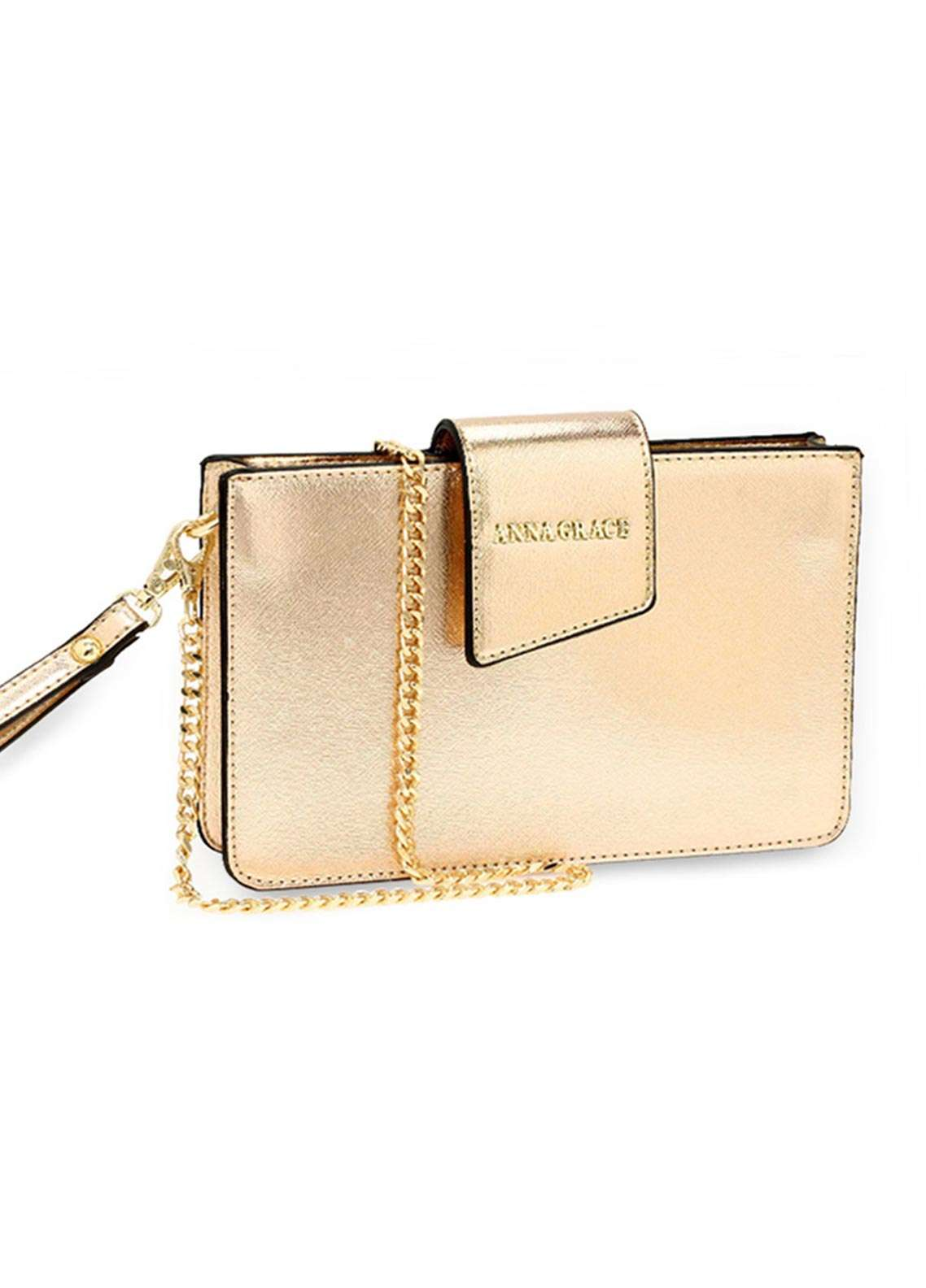 Anna Grace London Faux Leather Crossbody  Bags  for Women  Gold with Rugged Texture