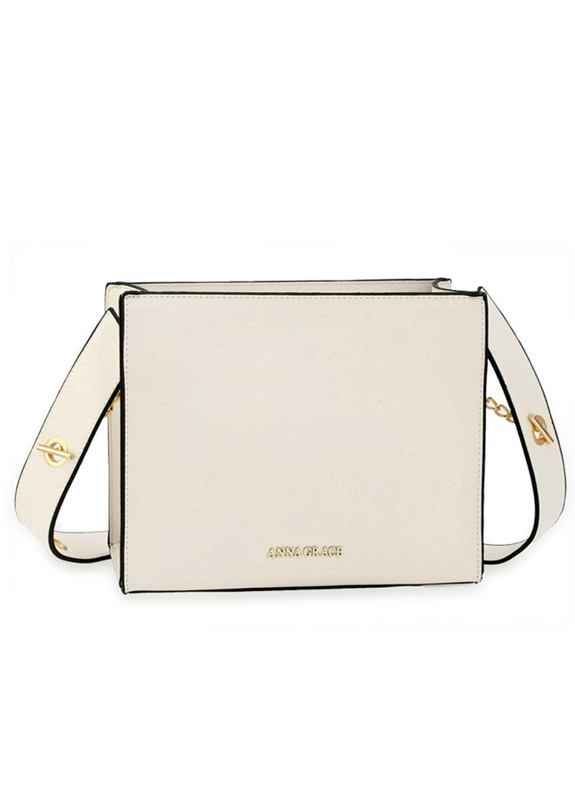Anna Grace London Faux Leather Tote Bags  for Women  White with Smooth Texture