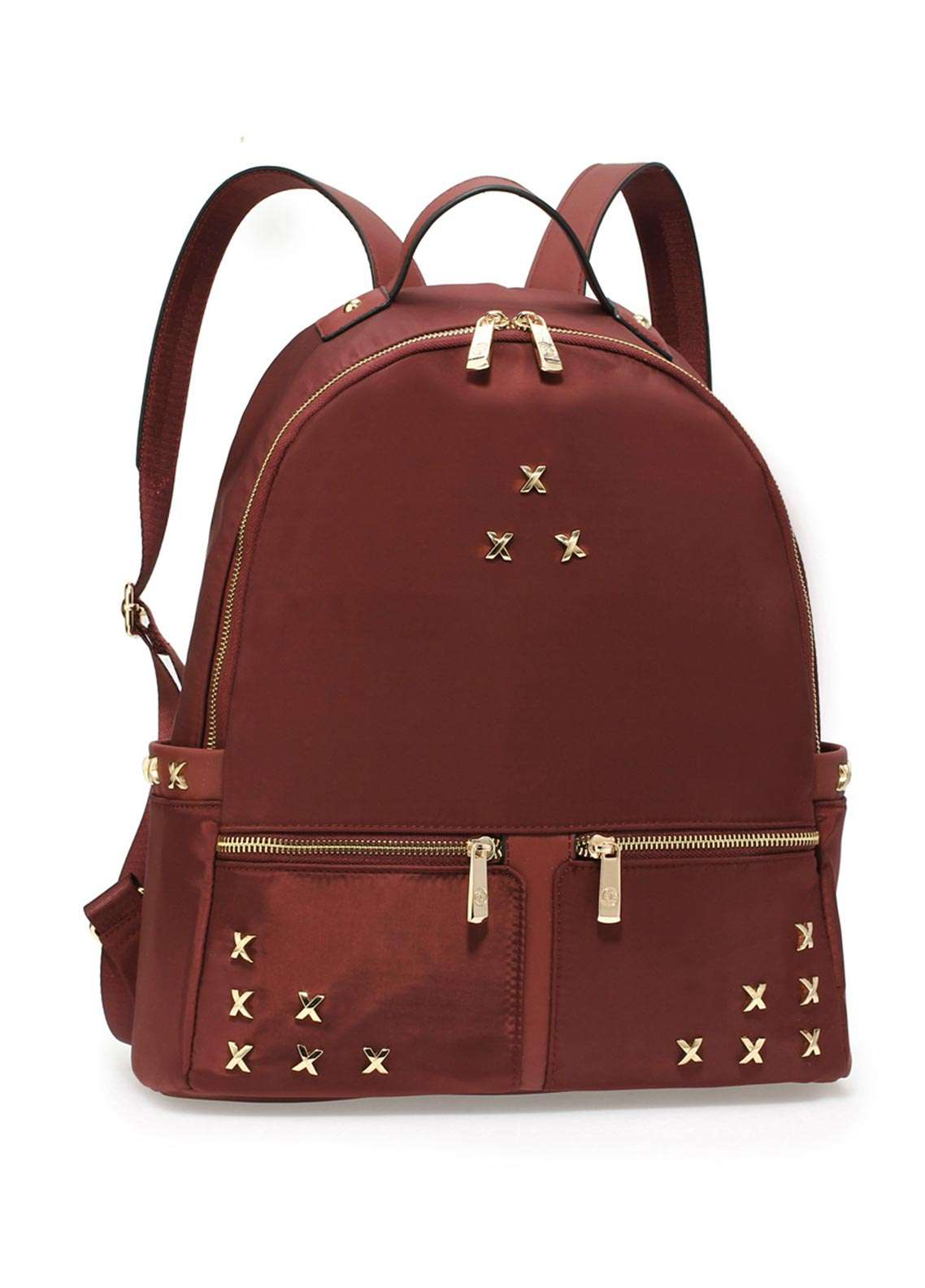 Anna Grace London Satin Backpack Bags  for Women  Red with Shiny Texture