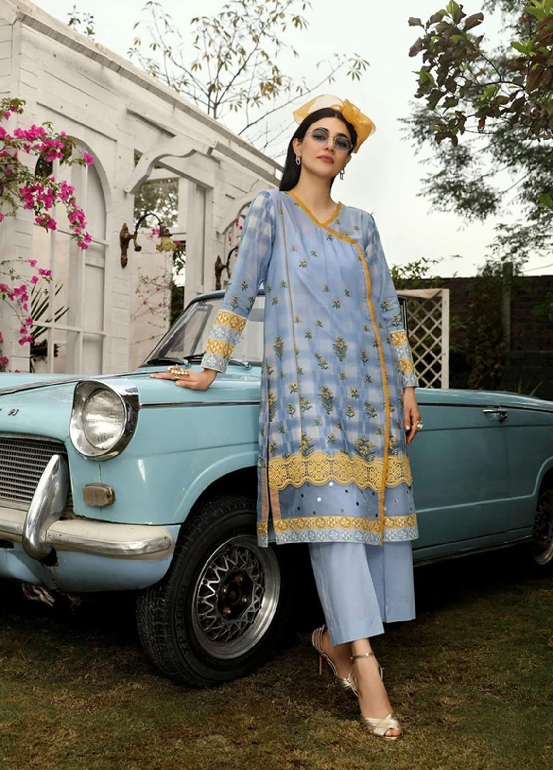 Aghaaz By Nuriyaa Printed Lawn Suits Unstitched 2 Piece NR21A FIRUZEH B - Summer Collection