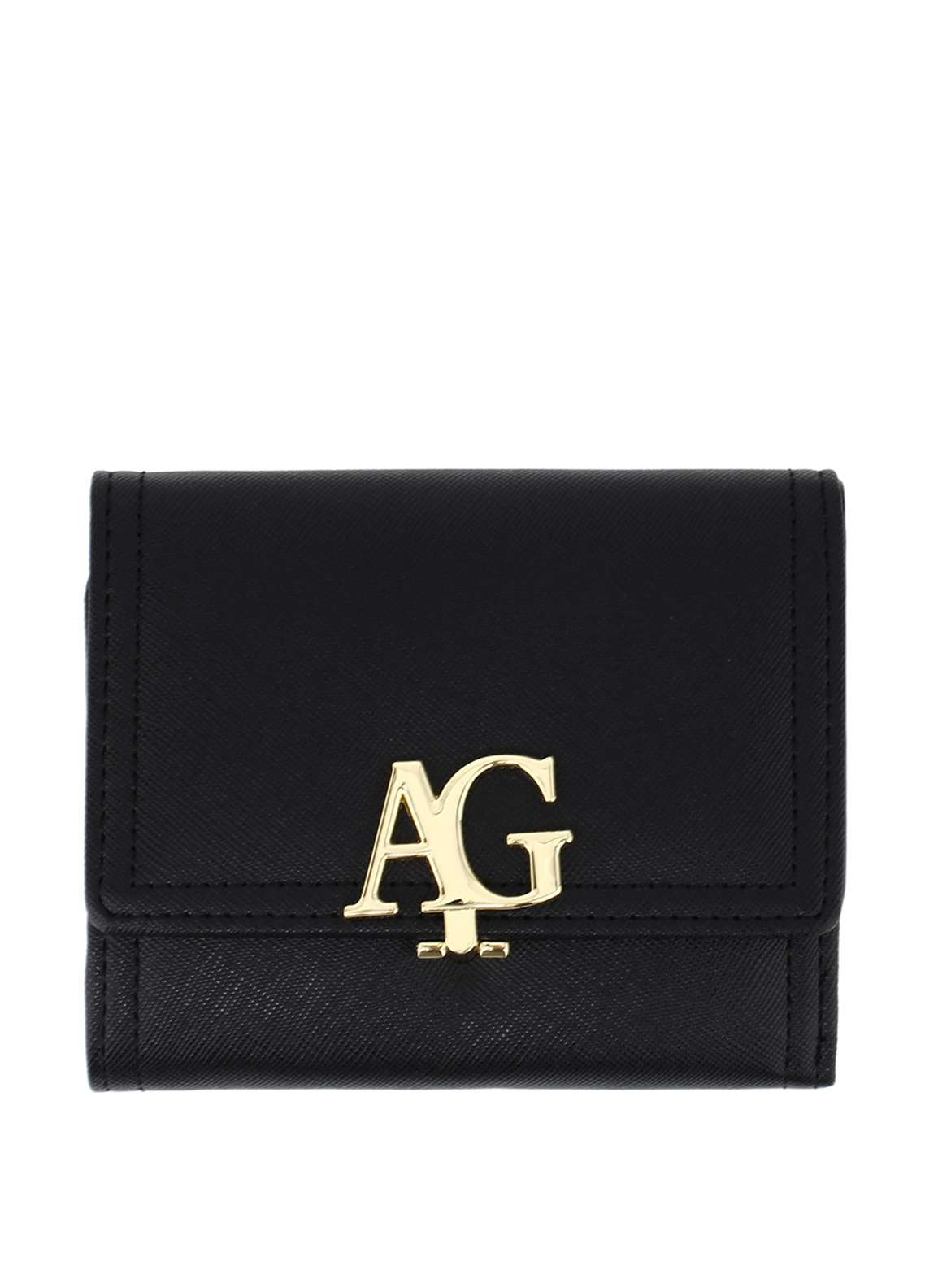 Anna Grace London Faux Leather Flap Purse Wallets  for Women  Black with Gold Metal Work