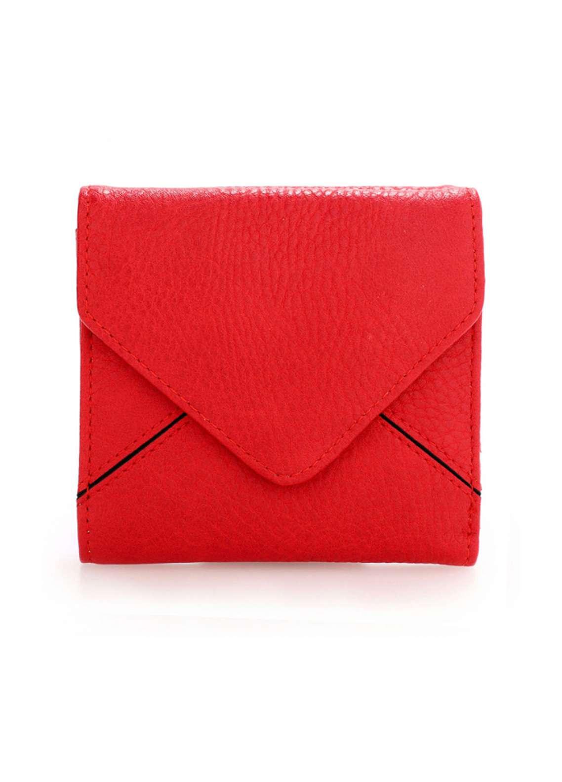Anna Grace London Faux Leather Envelop Purse Wallets  for Women  Red with Plain Texture