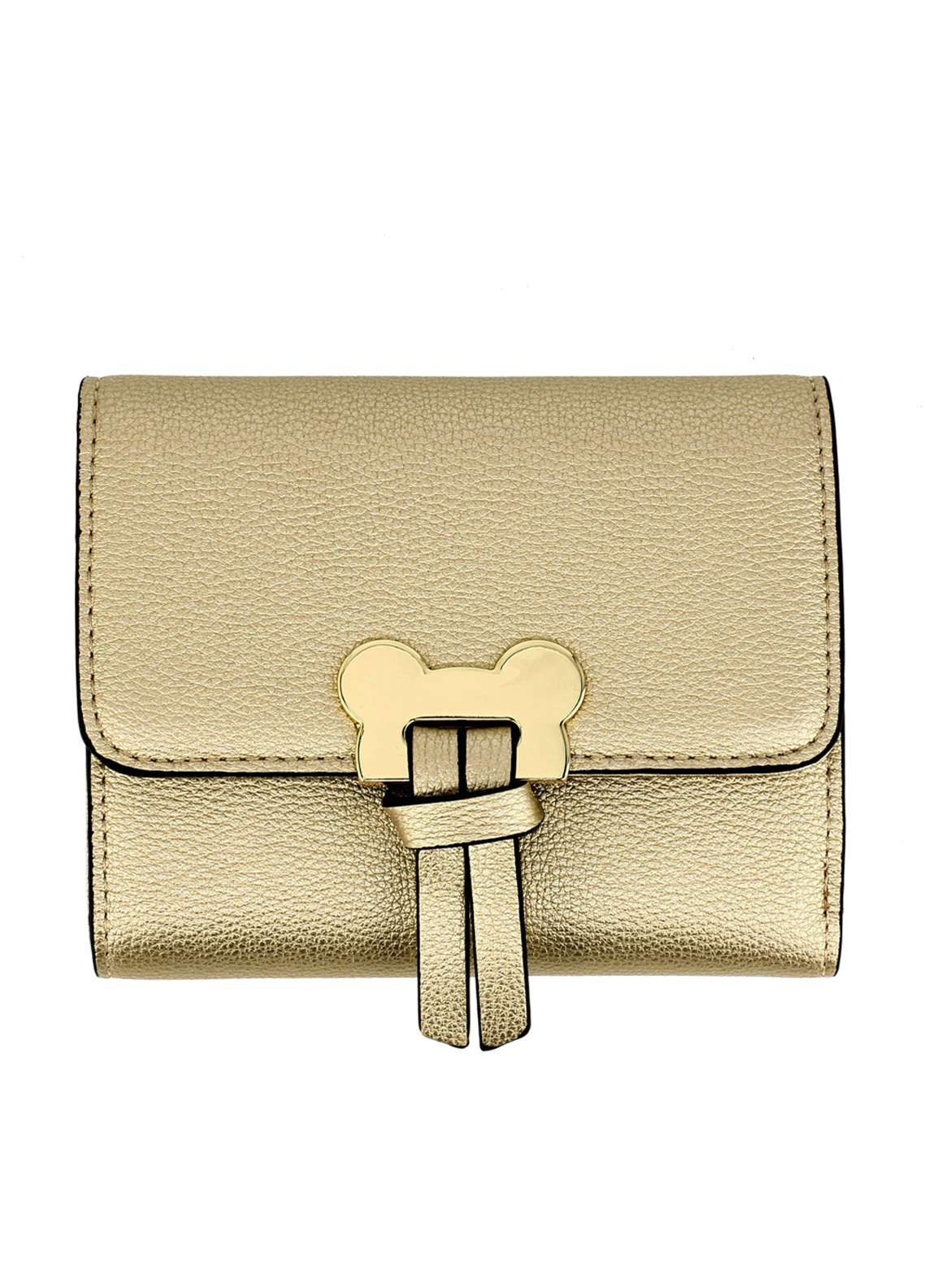Anna Grace London Faux Leather Flap Purse Wallets  for Women  Gold with Gold Metal Work