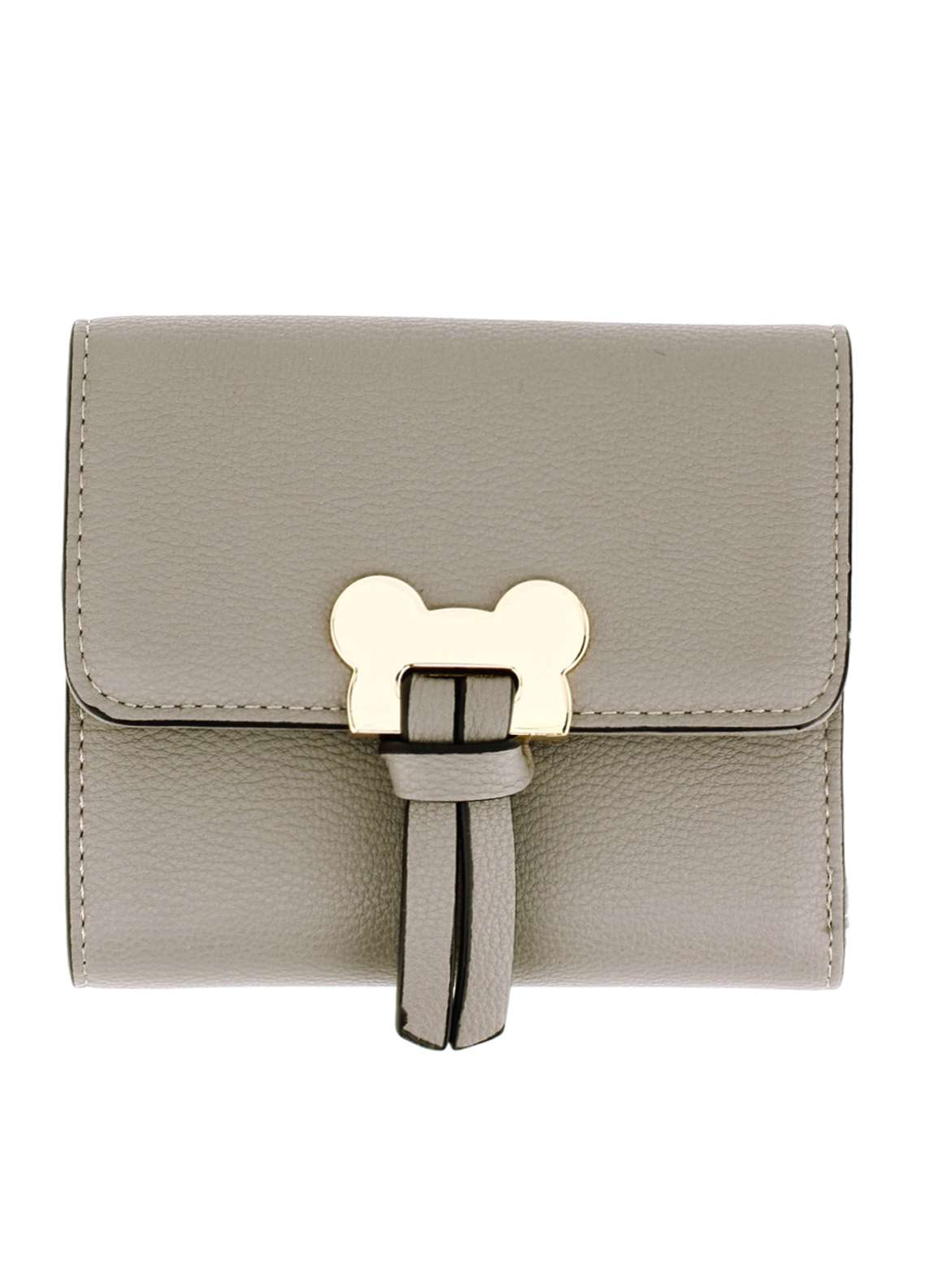 Anna Grace London Faux Leather Flap Purse Wallets for Women Grey with Gold Metal Work