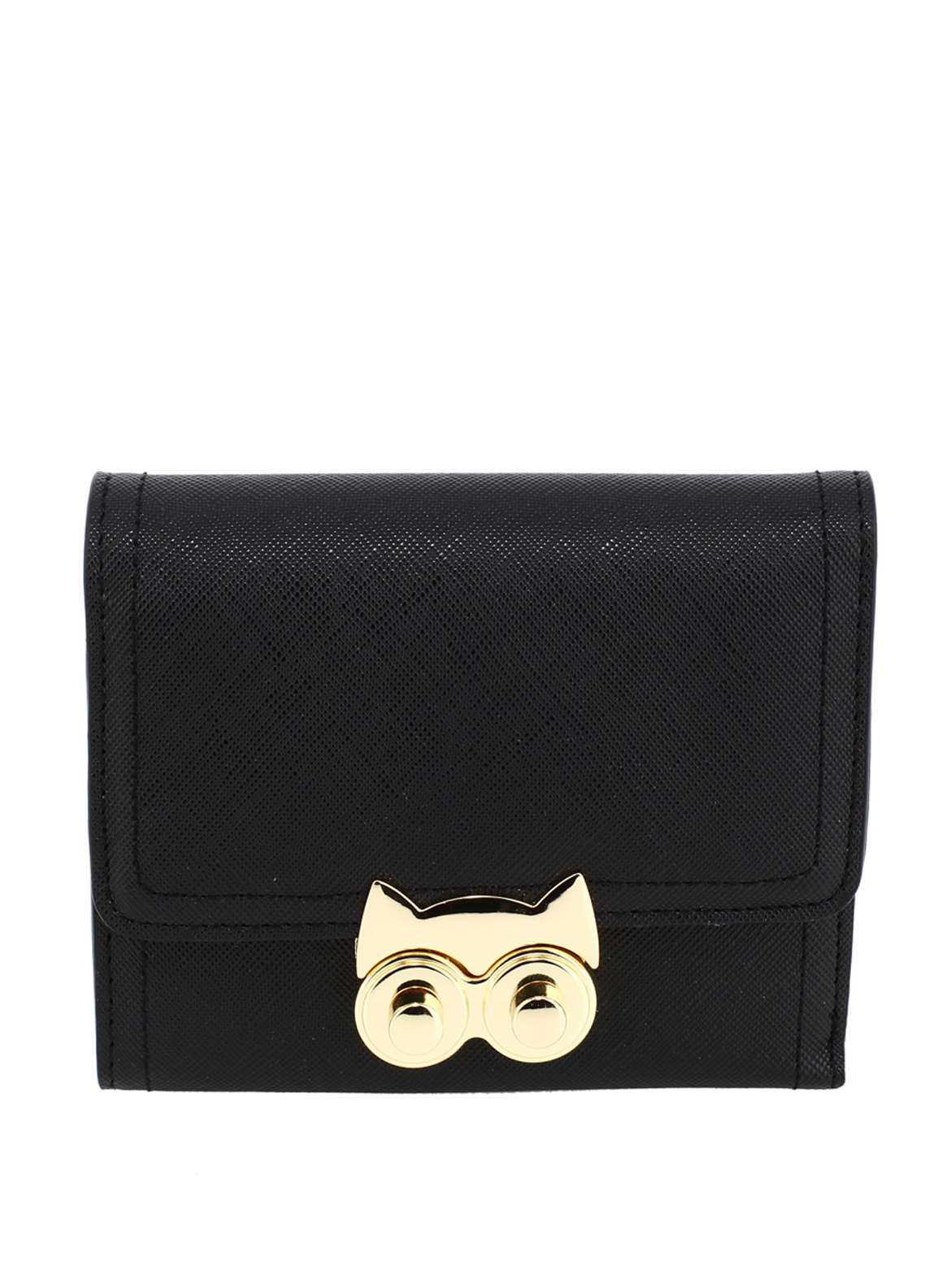 Anna Grace London Faux Leather Purse Wallets  for Women  Black with Gold Metal Work