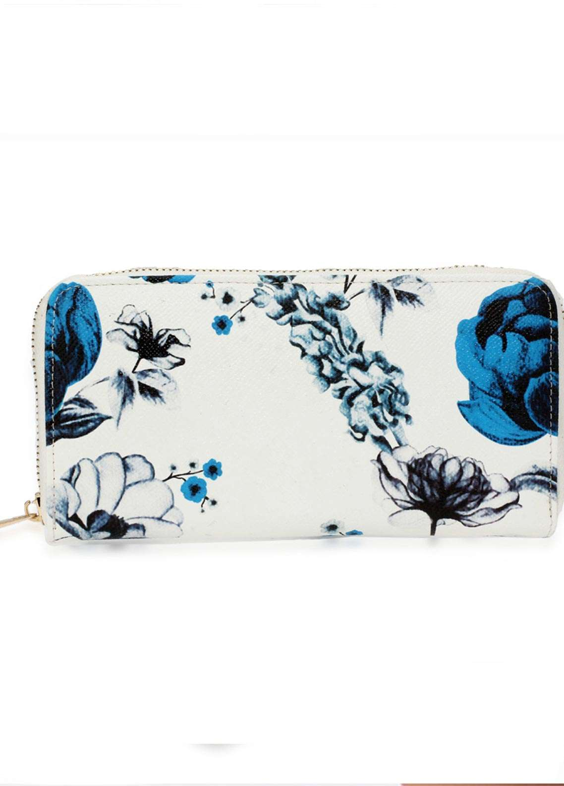 Anna Grace London Faux Leather Wallet   for Women  Blue with Smooth Texture|Grainy