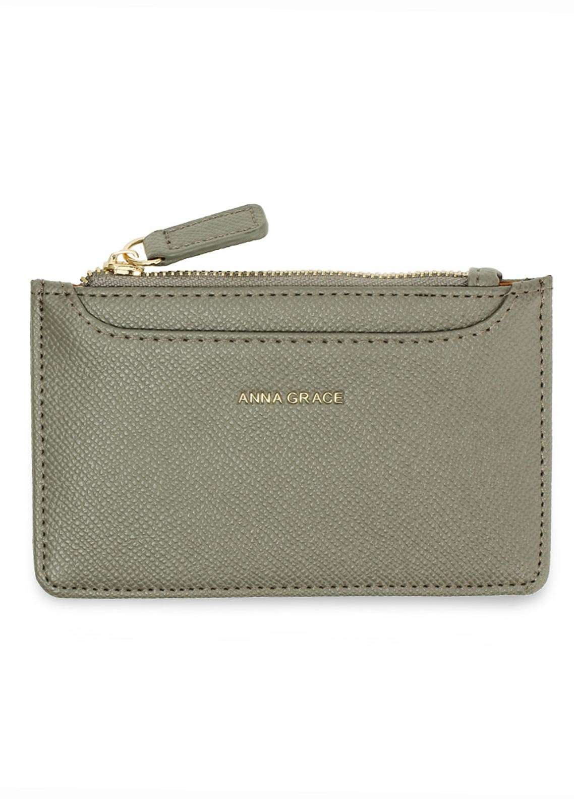 Anna Grace London Faux Leather Pouch   for Women  Grey with Rugged Texture