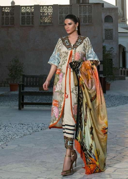 Ayesha Ibrahim by ZS Embroidered Chiffon Unstitched 3 Piece Suit AI17E2 7A