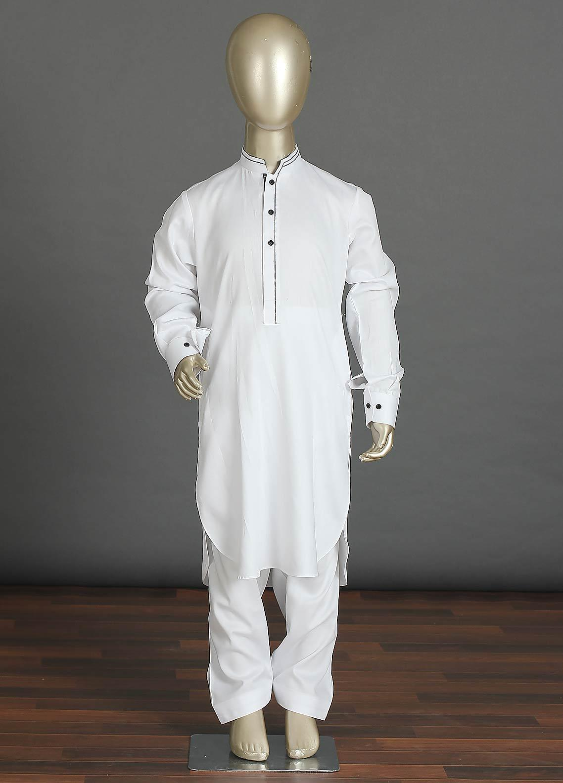 Aizaz Zafar Cotton Formal Kameez Shalwar for Boys -  238 White