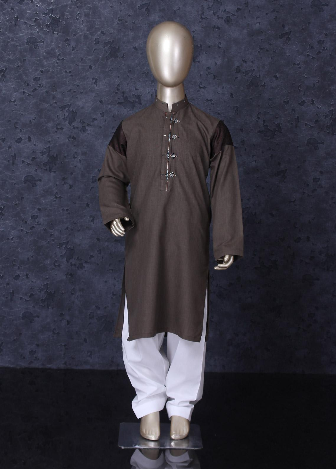 Aizaz Zafar Cotton Formal Kameez Shalwar for Boys -  247 Brown