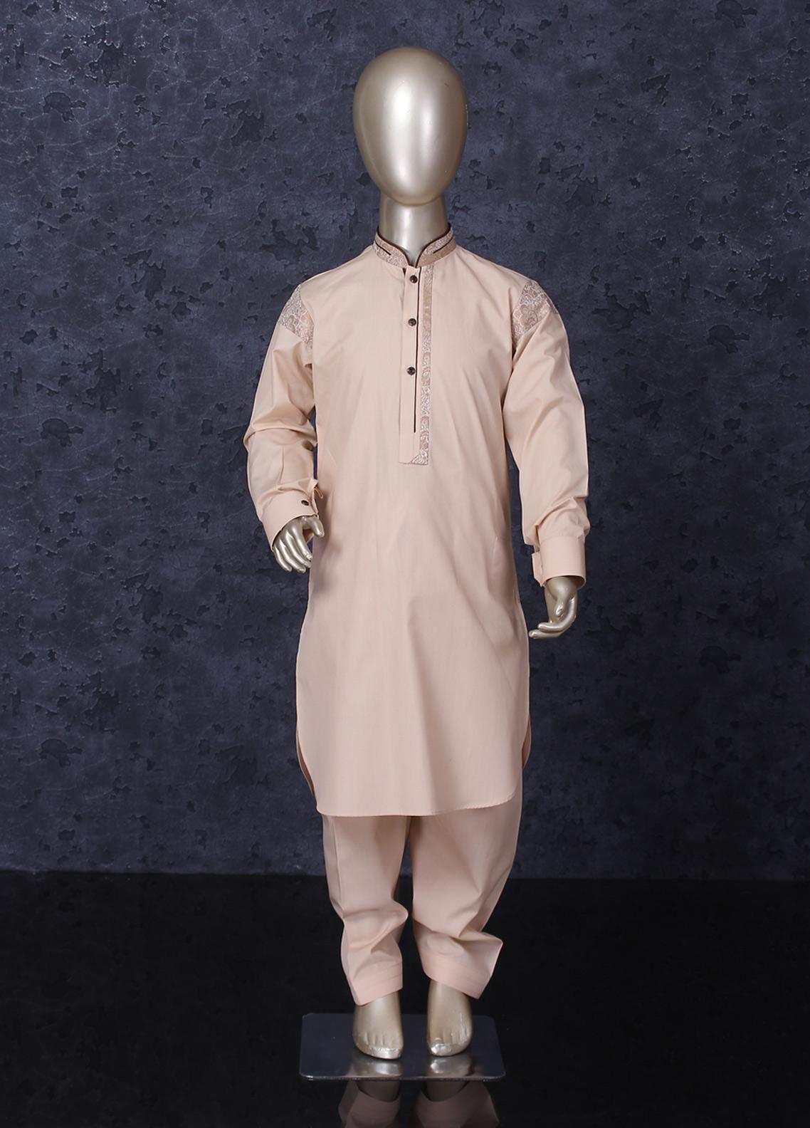 Aizaz Zafar Cotton Formal Boys Kameez Shalwar -  251 Beige