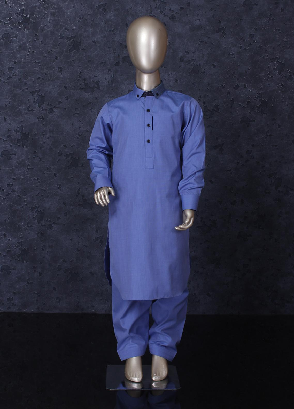 Aizaz Zafar Cotton Formal Kameez Shalwar for Boys - 254 Blue