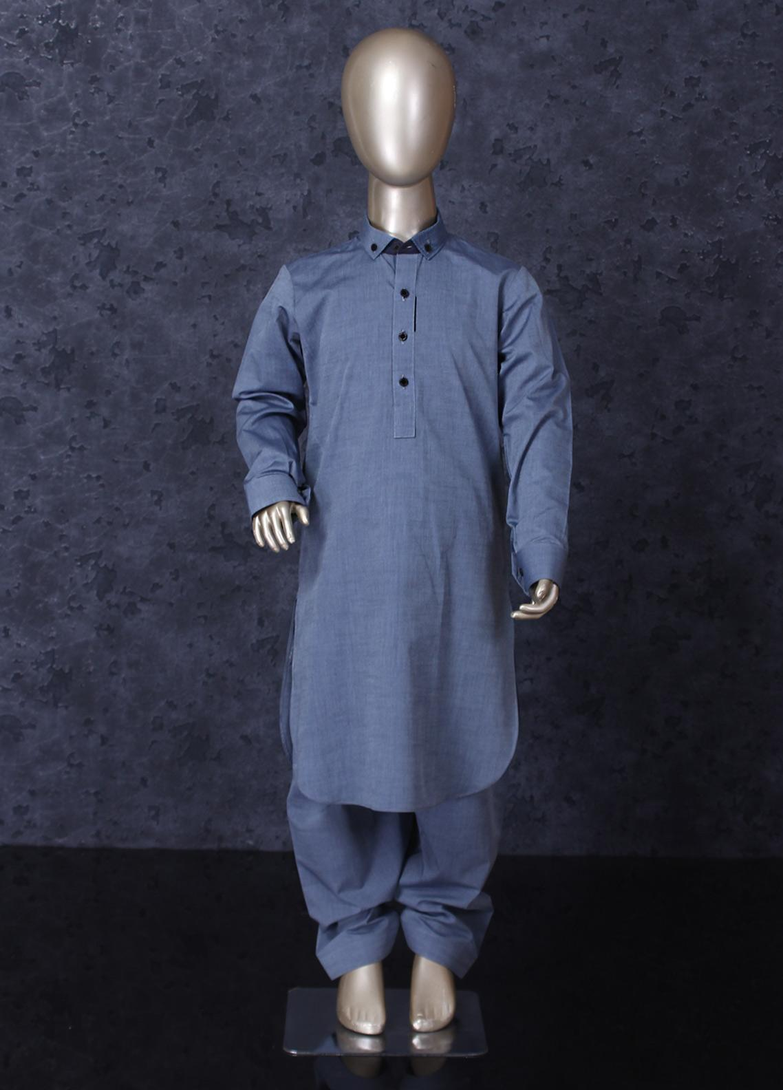 Aizaz Zafar Cotton Formal Boys Kameez Shalwar -  254 Grey