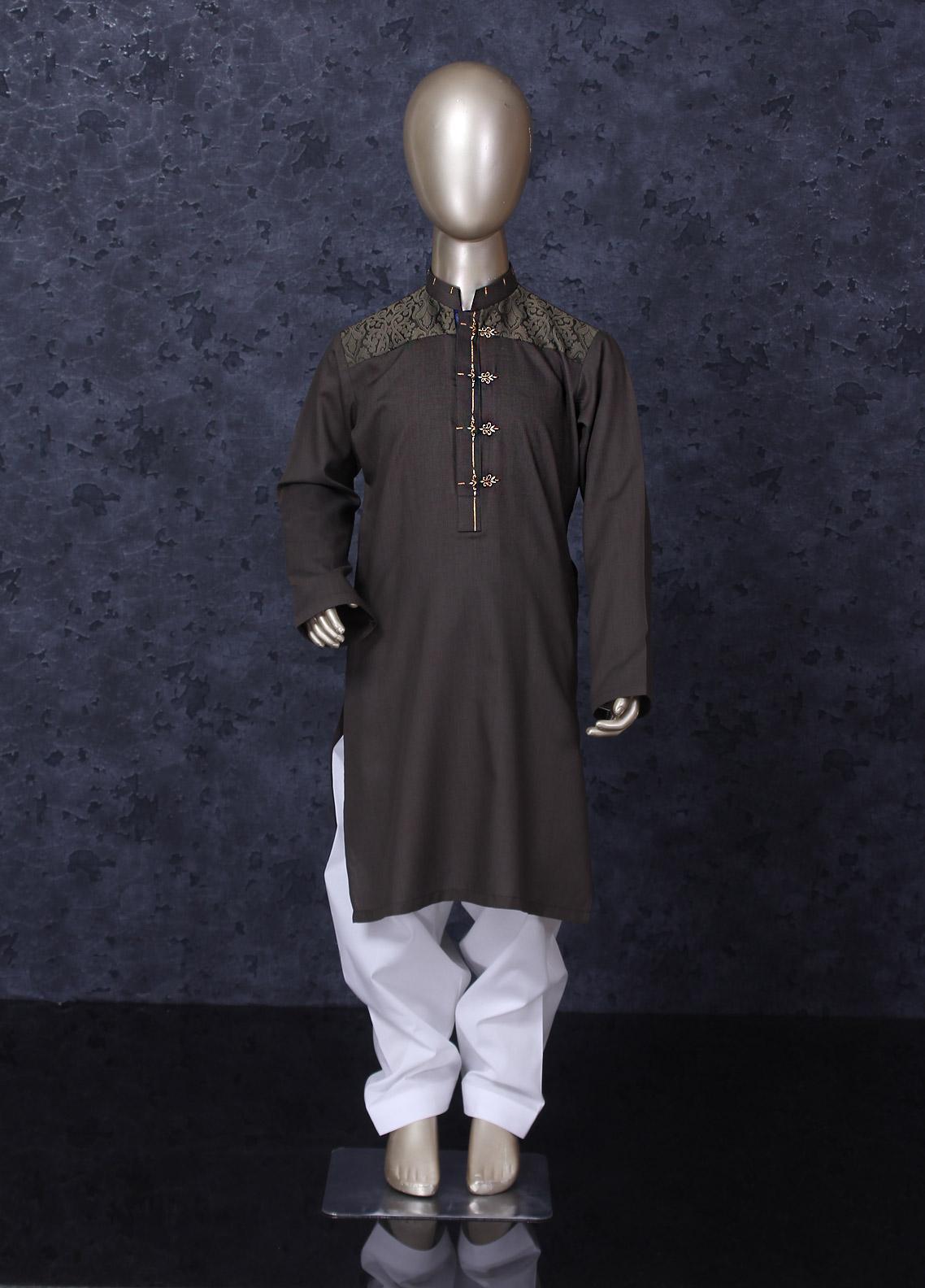 Aizaz Zafar Cotton Formal Boys Kameez Shalwar -  D-247 Green