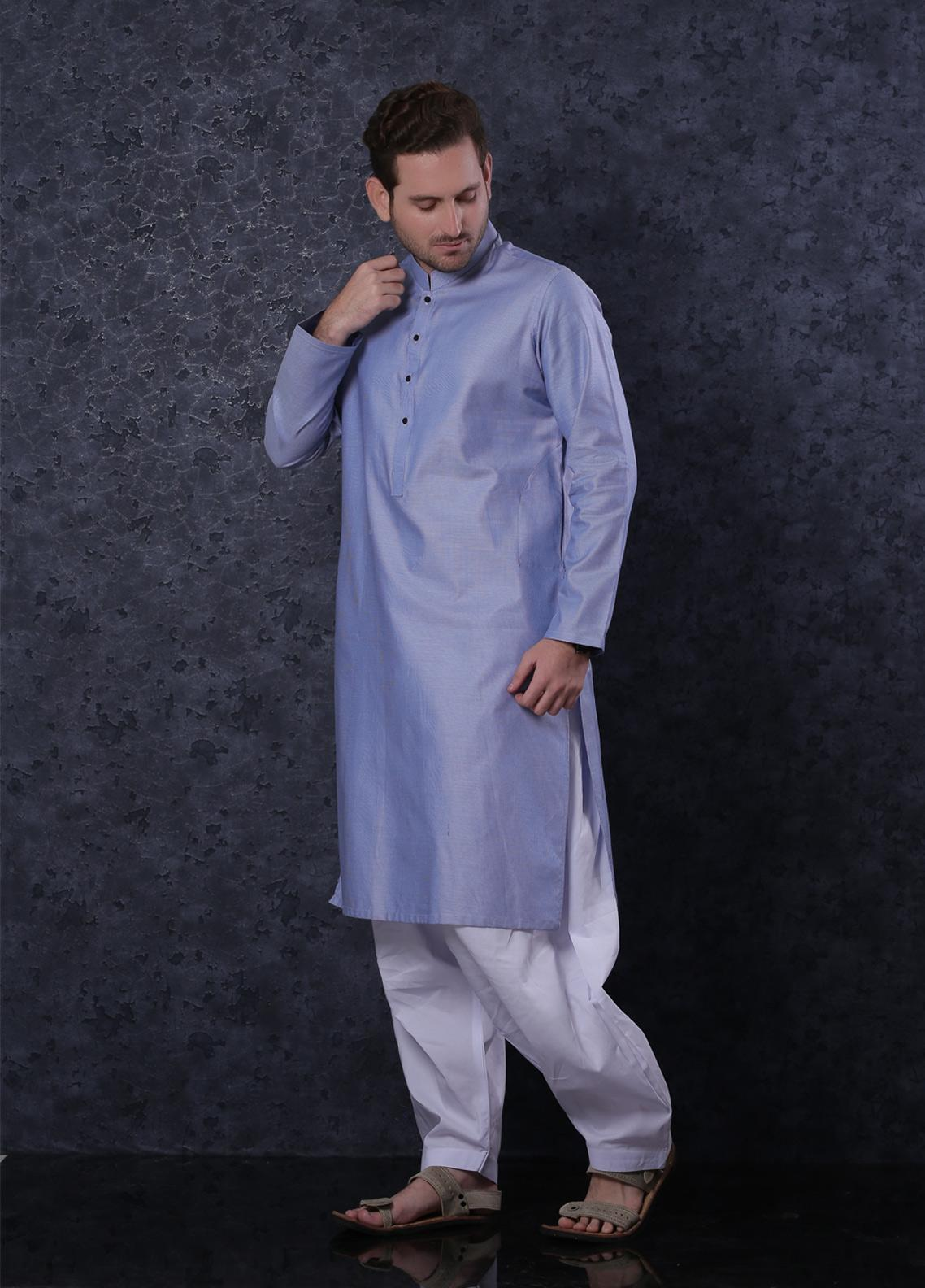 Aizaz Zafar Cotton Formal Kurta for Men -  302 Grey