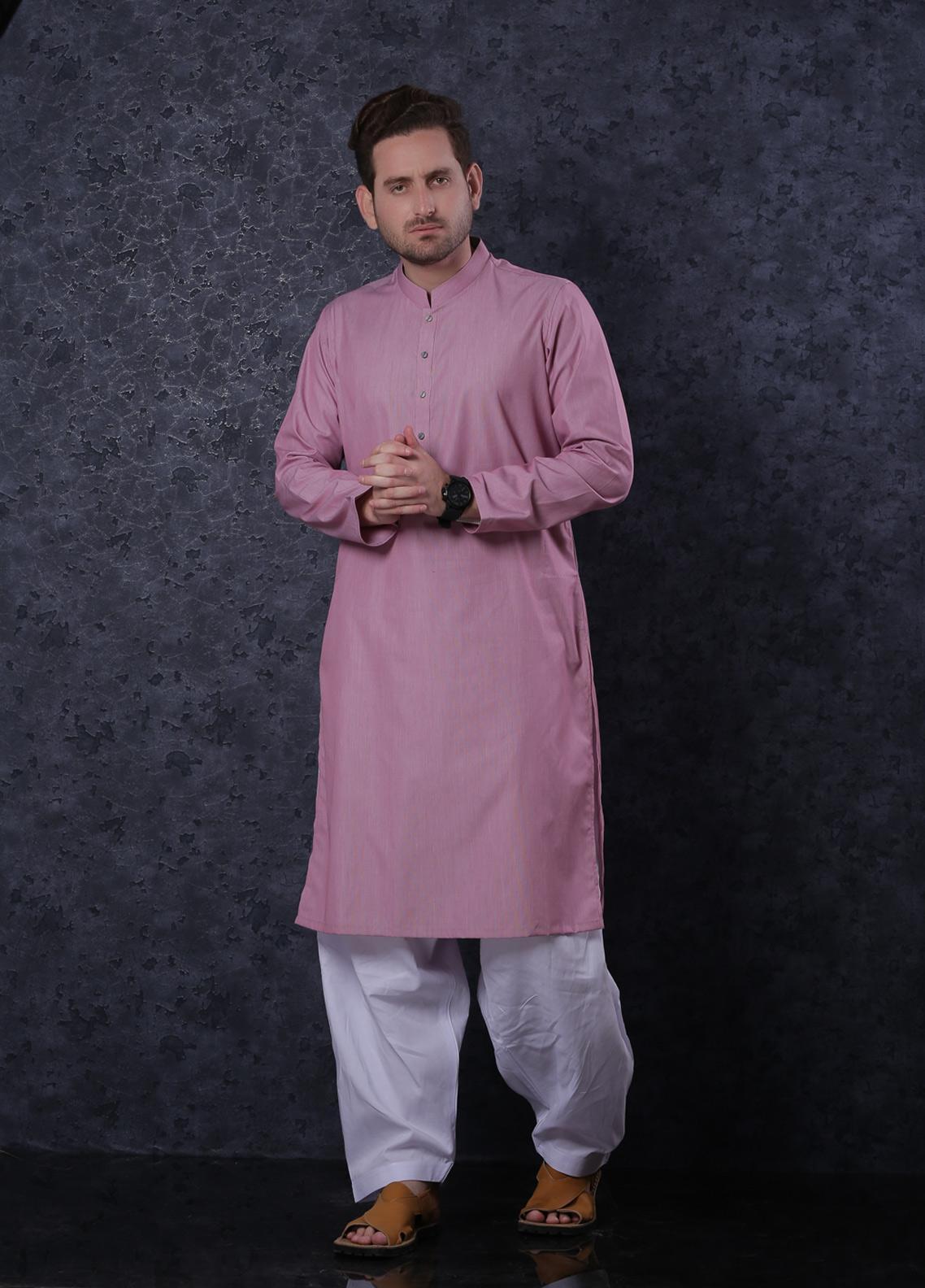 Aizaz Zafar Cotton Formal Kurta for Men -  302 Pink