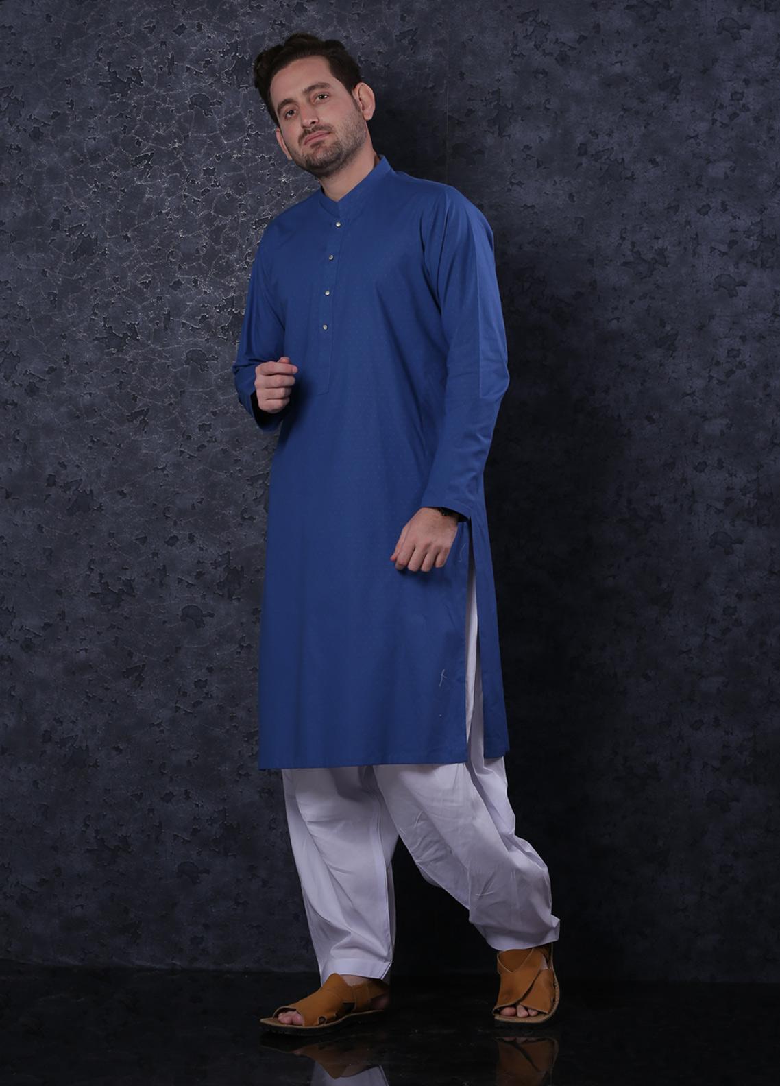 Aizaz Zafar Cotton Formal Men Kurta -  302 Royal Blue
