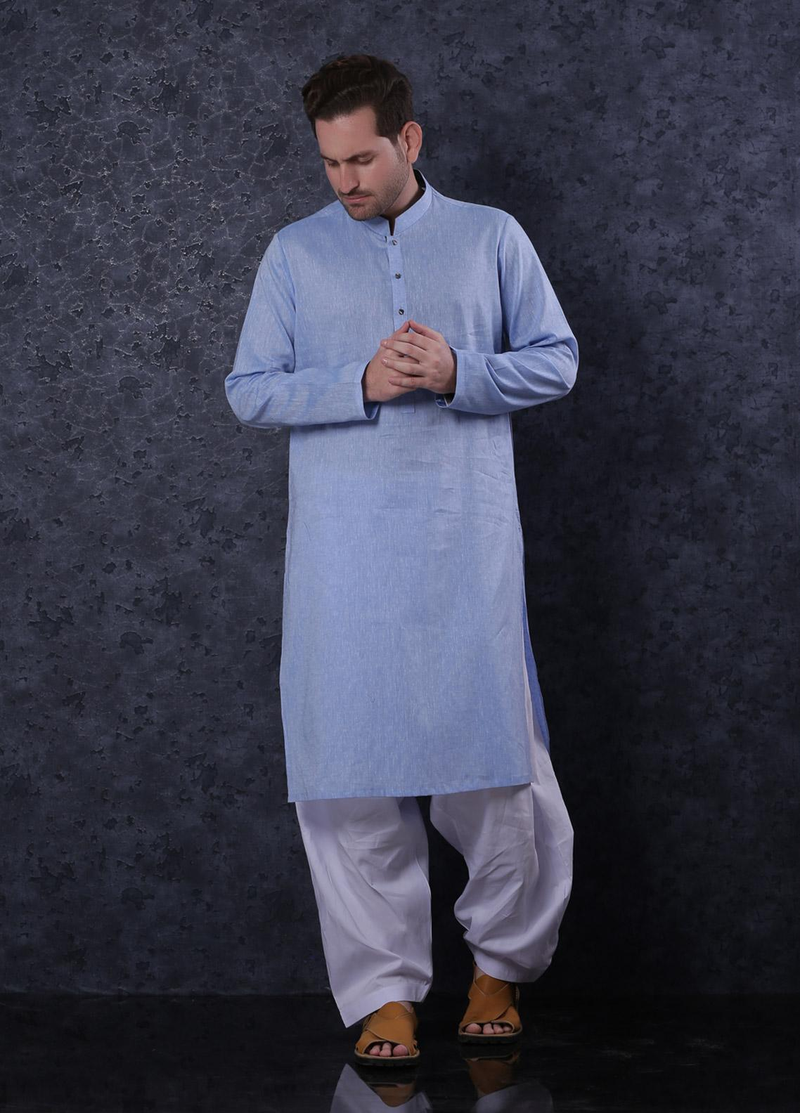 Aizaz Zafar Cotton Formal Men Kurta - 302 Sky Blue