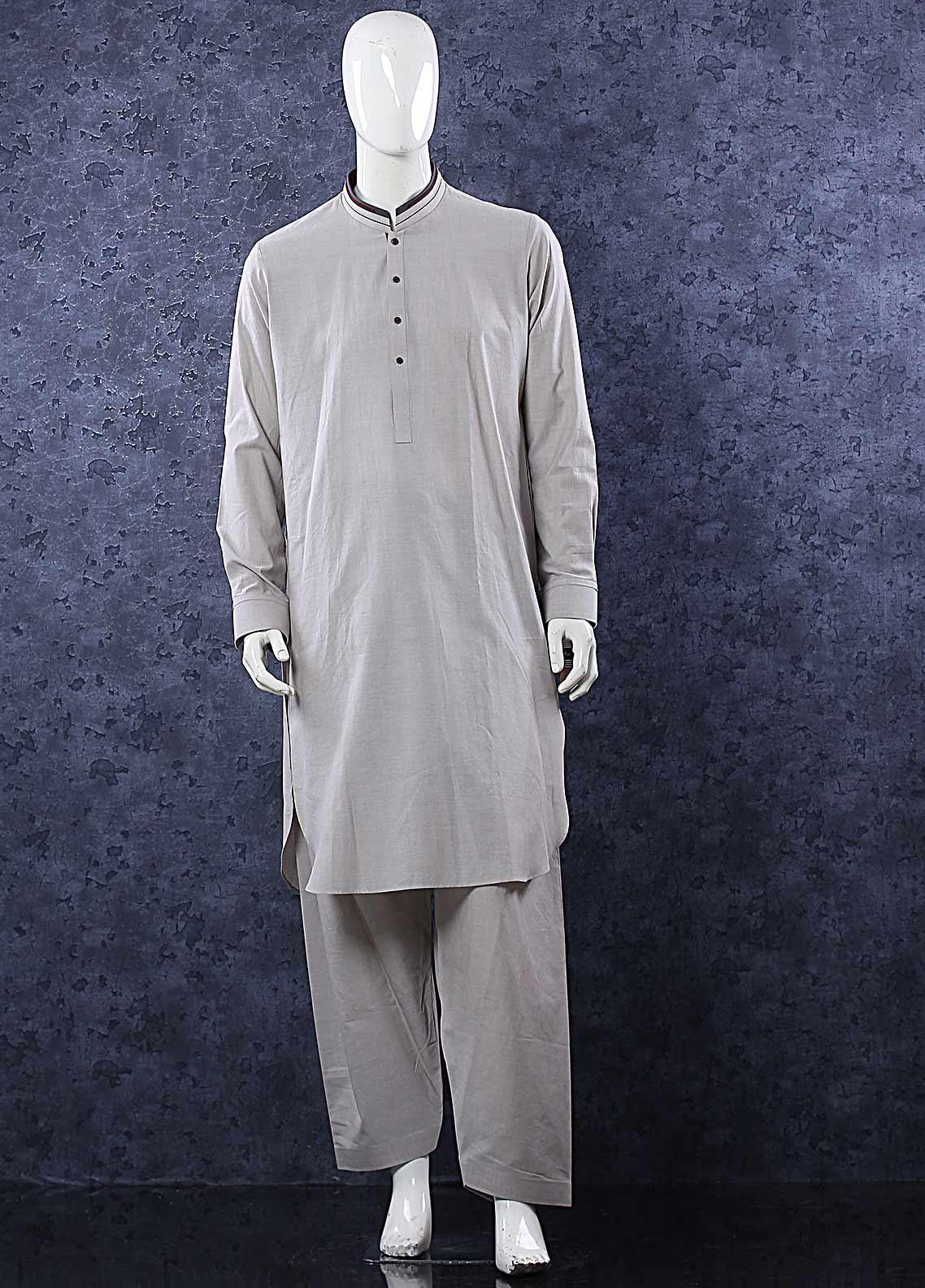 Aizaz Zafar Wash N Wear Formal Shalwar Kameez for Men -  685 Khaki