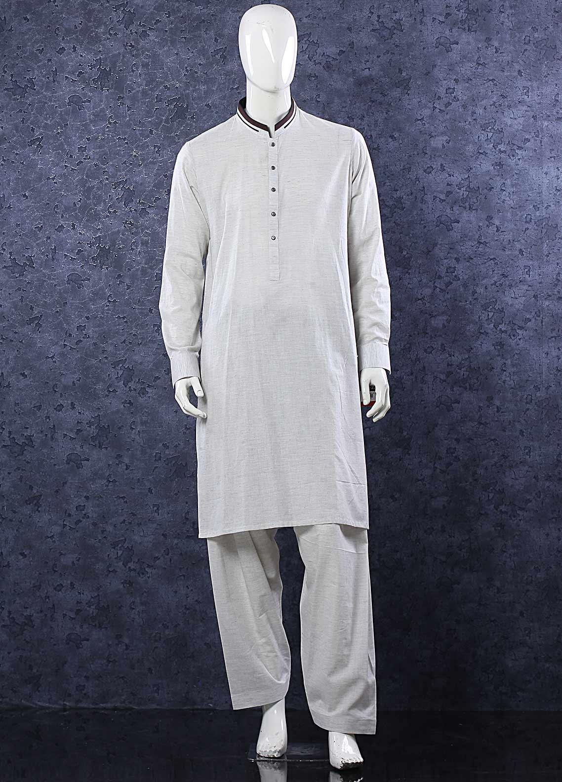 Aizaz Zafar Toyobo Formal Shalwar Kameez for Men -  D-685 Light Grey