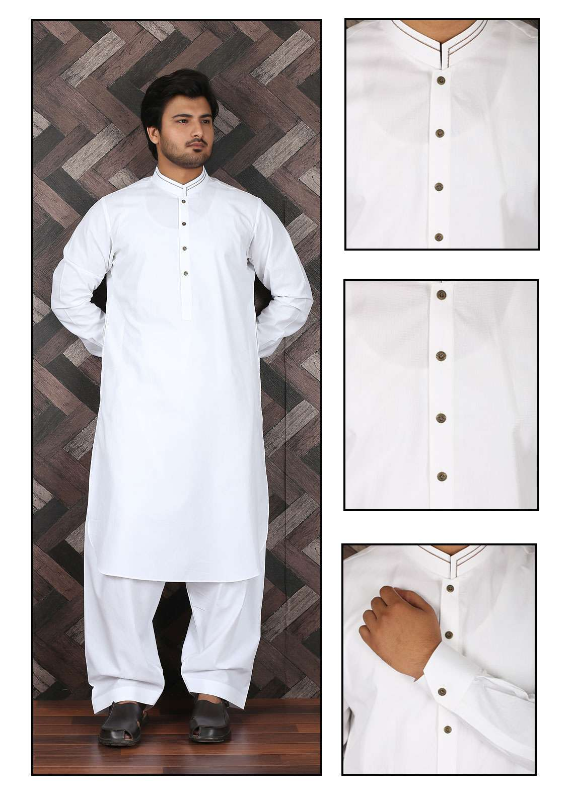 Aizaz Zafar Wash N Wear Formal Men Shalwar Kameez -  685 White