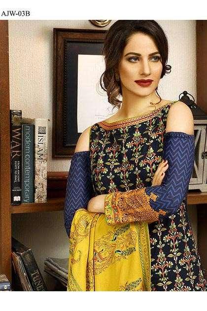 Asim Jofa Embroidered Linen Unstitched 3 Piece Suit AJ16W 3B