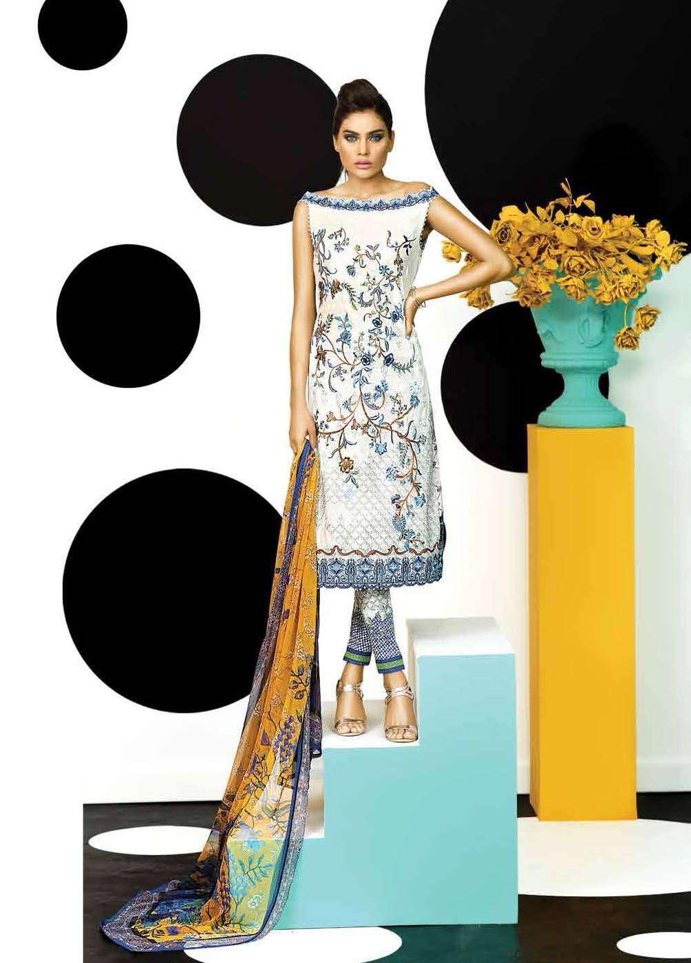 Asim Jofa Embroidered Lawn Unstitched 3 Piece Suit AJ17E 6B