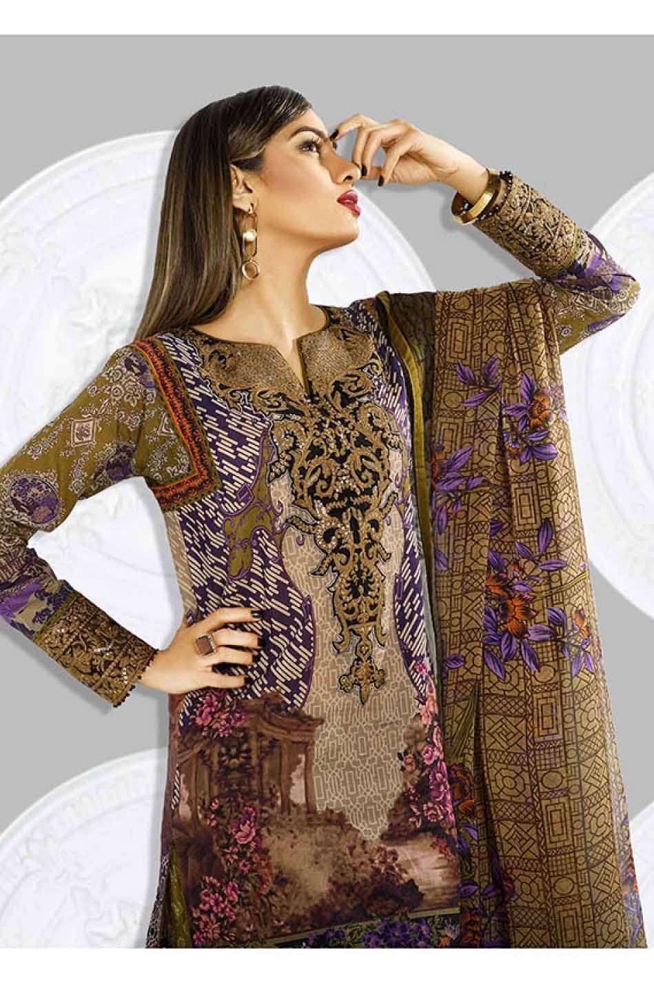 Asim Jofa Embroidered Lawn Unstitched 3 Piece Suit AJ17L 10A