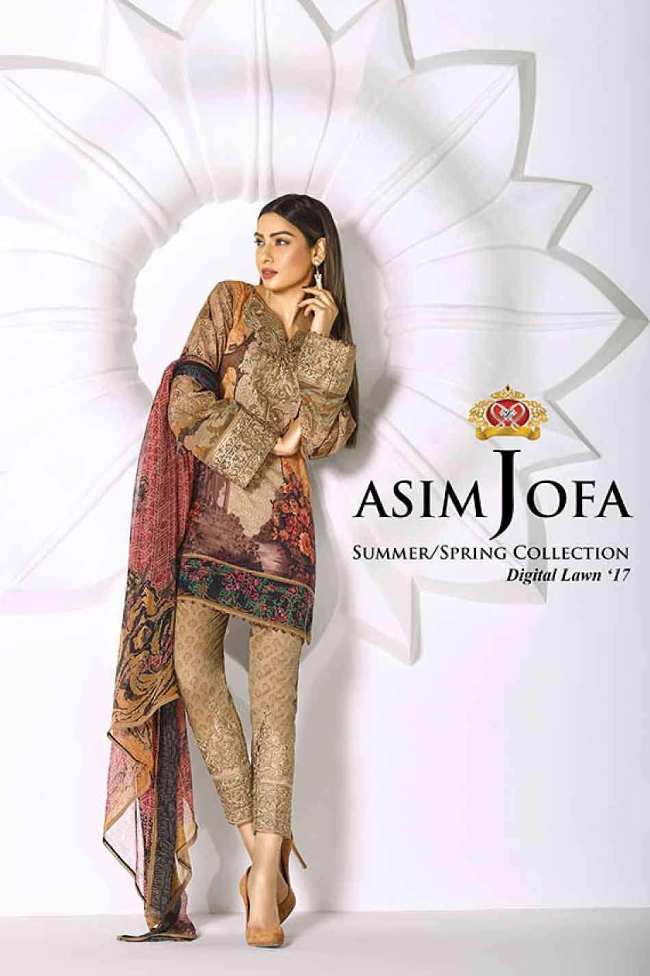 Asim Jofa Embroidered Lawn Unstitched 3 Piece Suit AJ17L 10B
