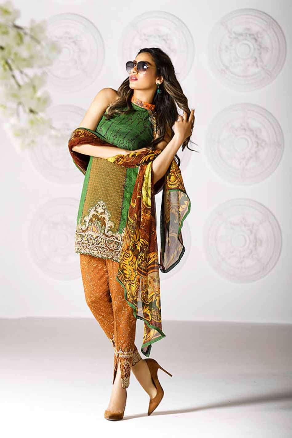 Asim Jofa Embroidered Lawn Unstitched 3 Piece Suit AJ17L 11A