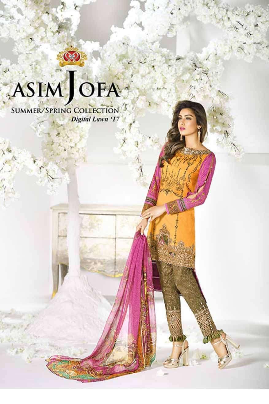 Asim Jofa Embroidered Lawn Unstitched 3 Piece Suit AJ17L 11B