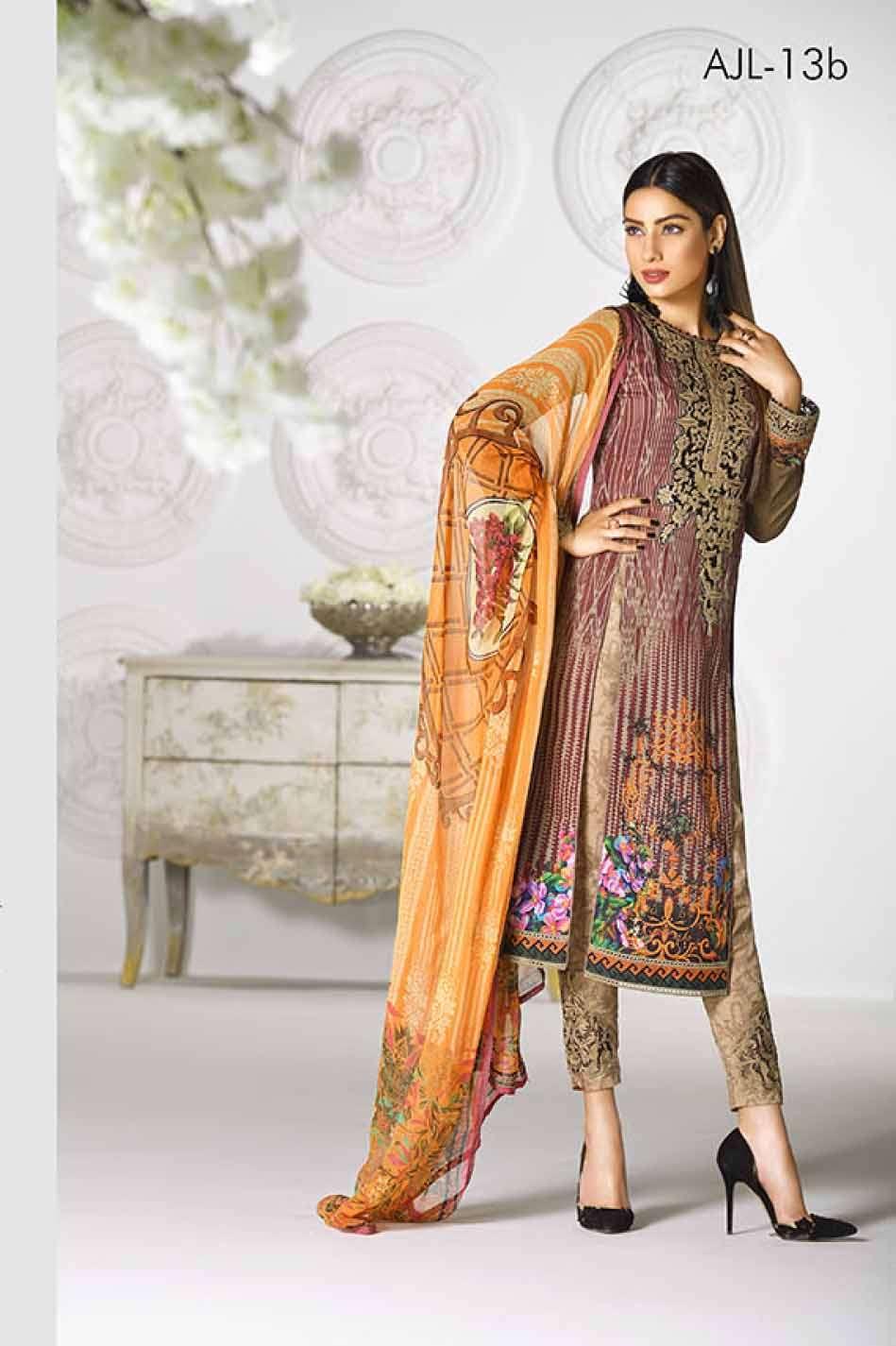 Asim Jofa Embroidered Lawn Unstitched 3 Piece Suit AJ17L 13B