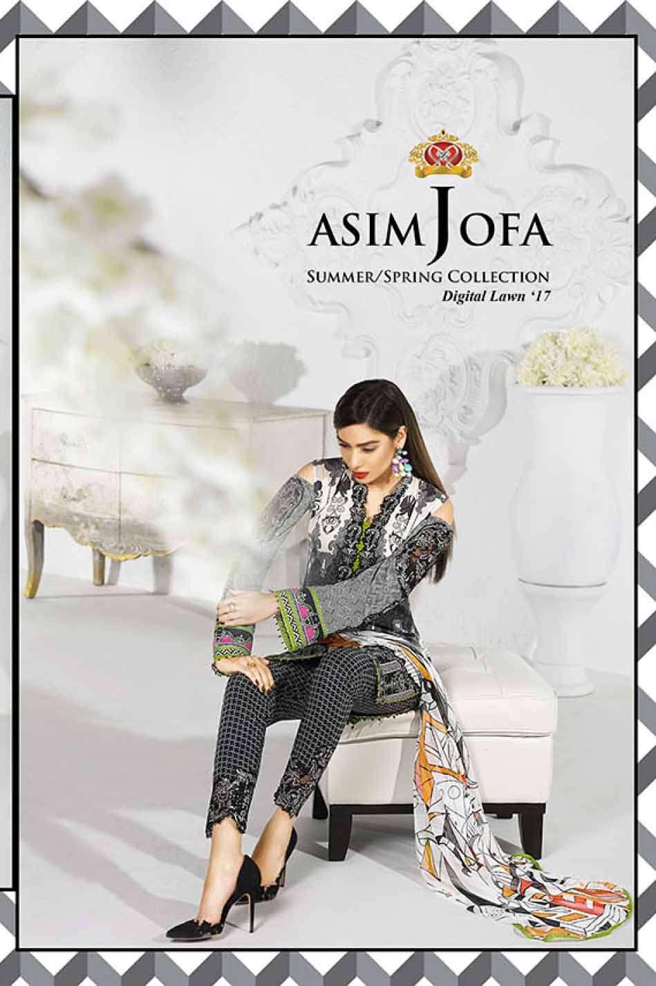 Asim Jofa Embroidered Lawn Unstitched 3 Piece Suit AJ17L 14A