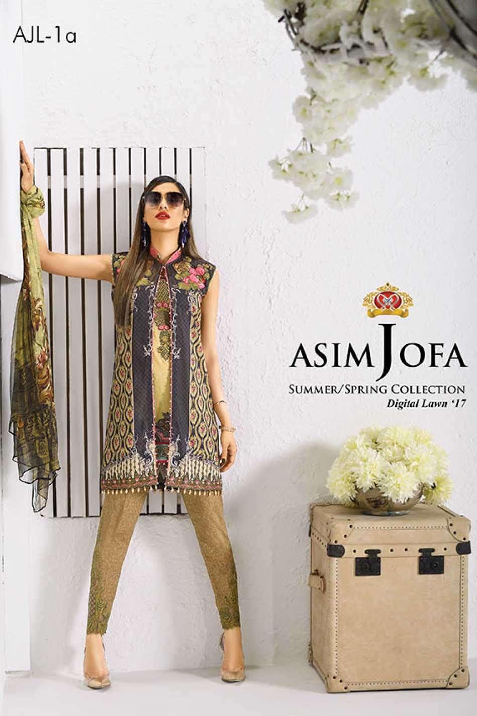Asim Jofa Embroidered Lawn Unstitched 3 Piece Suit AJ17L 1A